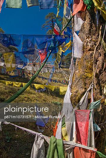 Prayer flags on the pass, Dochu La, Bhutan, Asia