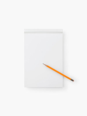 A Blank Note Pad and a Pencil on a White Background - p5147274f by Spoon photography