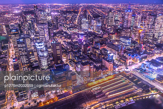Melbourne Nightscape - p1275m2032059 von cgimanufaktur