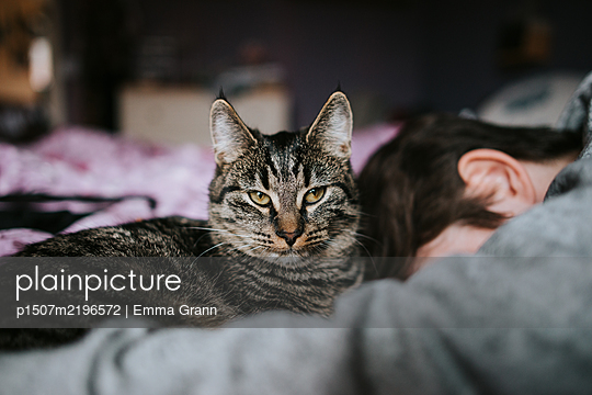 Girl and cat snuggling with each other - p1507m2196572 by Emma Grann