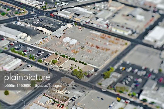 Aerial View of Commercial Area - p555m1453690 by Spaces Images
