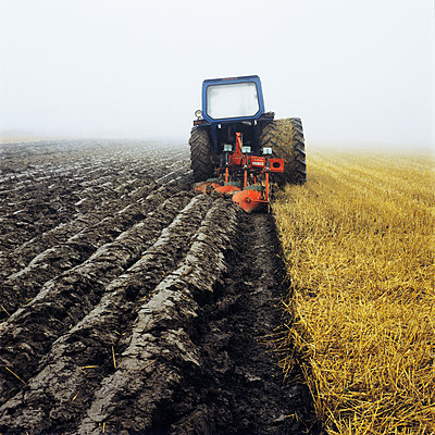 Tractor Ploughing Field, Sweden  - p847m1443835 by Mikael Andersson
