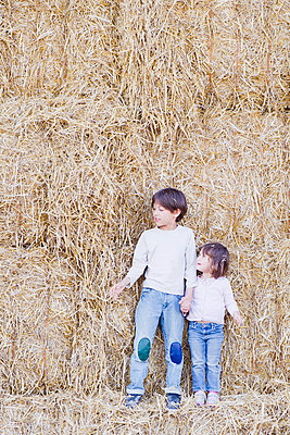Young siblings standing on hay bales, holding hands - p675m922872 by Frederic Cirou