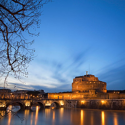 Castel Sant'Angelo lit up at night - p42917769 by Alex Holland