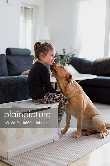 Boy with dog - p312m2119690 by Johner