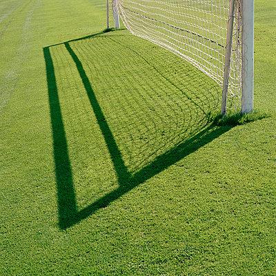 Empty soccer goal - p3014475f by Gwendolyn Plath