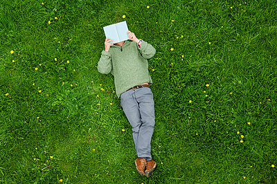 A man lying on his back on the grass, reading a book. - p1100m923424f by Henry Arden
