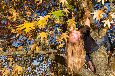 Girl in in tree with autmn leaves - p1201m1041698 by Paul Abbitt