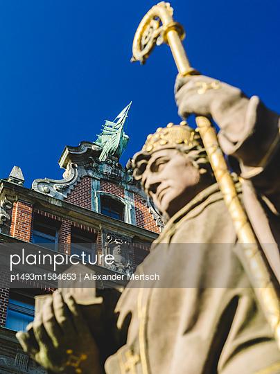 Trostbrücke mit Bischof Ansgar und Globushof, Hamburg I - p1493m1584653 von Alexander Mertsch