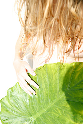 Naked woman lying under huge green leaf - p1105m2200694 by Virginie Plauchut