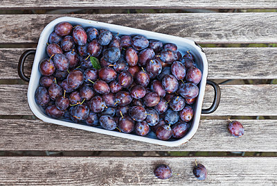 Fresh plums in casserole - p300m1568056 von Gaby Wojciech