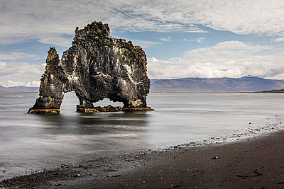 Volcanic rock formation in the shallows on a black sand beach, Hvitserkur, Nordurland Vestra, Iceland - p429m2145656 by Quim Roser