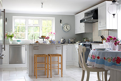 Stainless steel appliances in Kent country kitchen  UK - p3493511 by Robert Sanderson