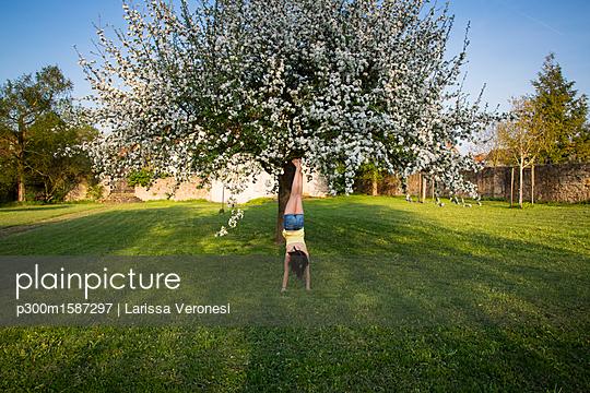Back view of girl doing handstand in garden in front of blossoming apple tree - p300m1587297 von Larissa Veronesi