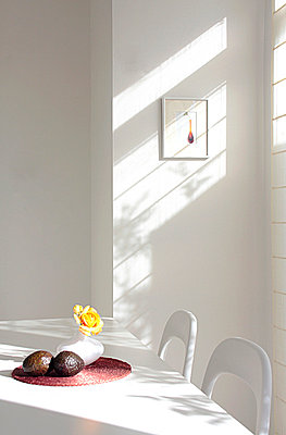 White Dining Table Near Window  - p307m660282f by AFLO