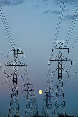 power transmission lines at dusk; beaumont alberta canada - p44213673f by LJM Photo