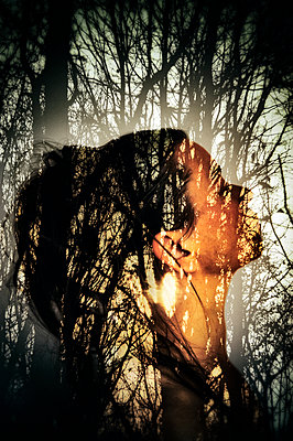 Collaged abstract portrait of woman overlaid with silhouetted trees and lens flare - p1047m2092606 by Sally Mundy