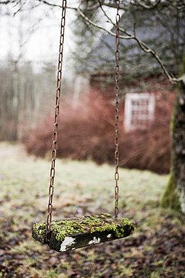 Scandinavian Peninsula, Sweden, Skåne, View of empty swing in garden - p5755497f by Peter Rutherhagen