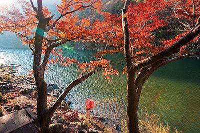 Arashiyama, Kyoto, Kyoto prefecture, Kansai region, Japan. Woman with red umbrella and kimono admiring the view on Katsura river. - p651m2062131 by Marco Bottigelli