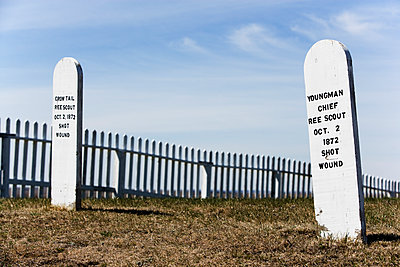 Old wooden annotated grave markers. - p343m1554684 by Ron Koeberer
