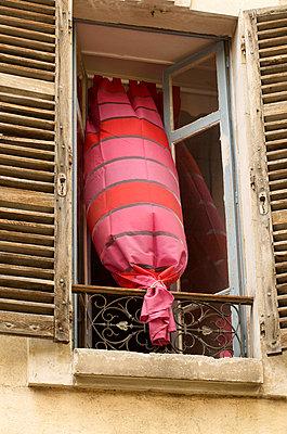 Opened window and curtain - p8130081 by B.Jaubert