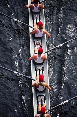 Overhead view of female crew racers rowing a sports racing shell.  boat - p1100m1220577 by Mint Images