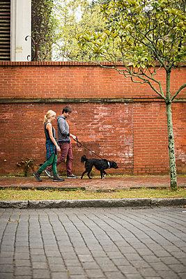 Couple walking dog on pavement, Savannah, Georgia, USA - p429m1012236 by Mike Tittel