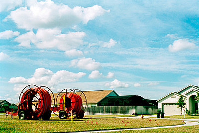 two large cable drums in street - p3880187 by Jim Green