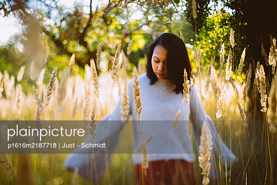 Dark-haired woman in a cornfield - p1616m2187718 by Just - Schmidt