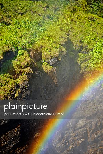 Sweden, Gaeddede, Rainbow at waterfall Haellingsafallet - p300m2213671 by Biederbick&Rumpf