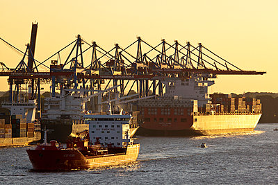 Container ships on the river Elbe - p324m1026503 by Alexander Sommer