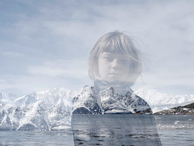 Multiple exposure of blonde girl against fjord - p945m1444656 by aurelia frey