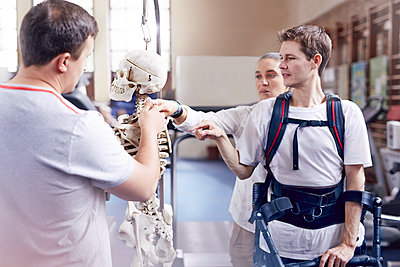 Physical therapist explaining spine model to man - p1023m1121422f by Trevor Adeline
