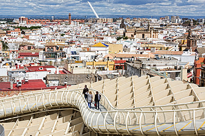 Tourists at Metropol Parasol - p1445m2150463 by Eugenia Kyriakopoulou