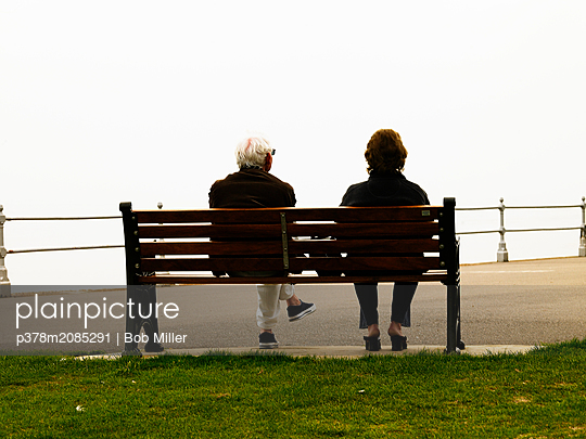 Couple on bench - p378m2085291 by Bob Miller