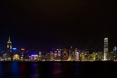 Hong kong skyline at night - p9247751f by Image Source