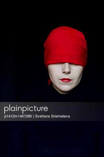 Model in a red head scarf - p1412m1467286 by Svetlana Shemeleva