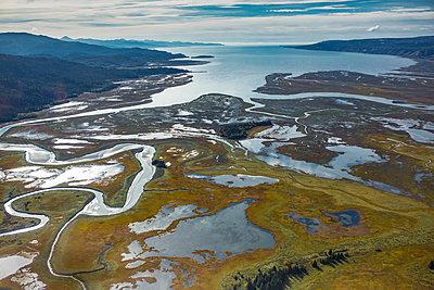 River flowing into bay, Fox River Flats, Kachemak Bay, Alaska - p884m1510097 by Matthias Breiter