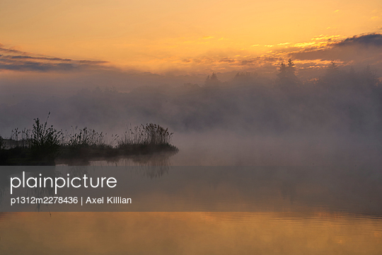 Germany, Lake in fog with orange sky - p1312m2278436 by Axel Killian