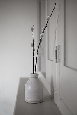 Pussy Willow in vase in house - p1470m1539182 by julie davenport