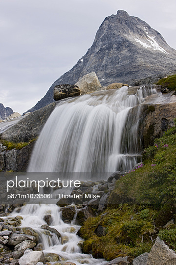 Waterfall, Prince Christian Sund, Greenland, Arctic, Polar Regions