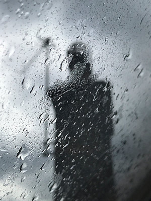 Rain on a window - p1048m2025700 by Mark Wagner