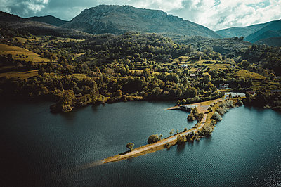 Rioseco Reservoir from aerial view - p1166m2152235 by Cavan Images