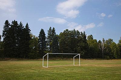 Soccer net in field; thunder bay ontario canada - p442m839599 by Benjamin Rondel