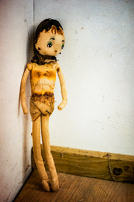 Tattered and worn old cloth doll - p1047m1475146 by Sally Mundy