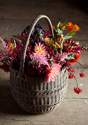 Basket of Autumn flowers - p349m2167848 by Sussie Bell