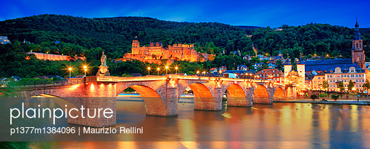 Old Bridge with Bridge Gate and Castle (Schloss) by night - p1377m1384096 by Maurizio Rellini