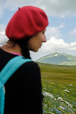 Woman hiker, Caucasus Mountains - p1363m2063264 by Valery Skurydin