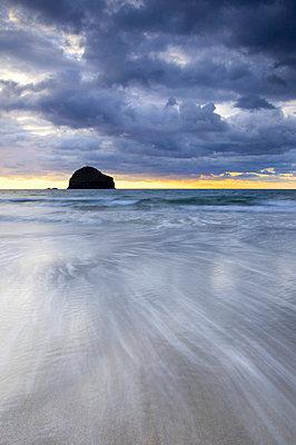 Gull Rock at sunset, Trebarwith Strand, Cornwall, UK - p6510976 by Nadia Isakova photography