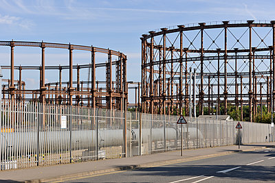 Victorian gasometers in London, UK - p1048m1497689 by Mark Wagner
